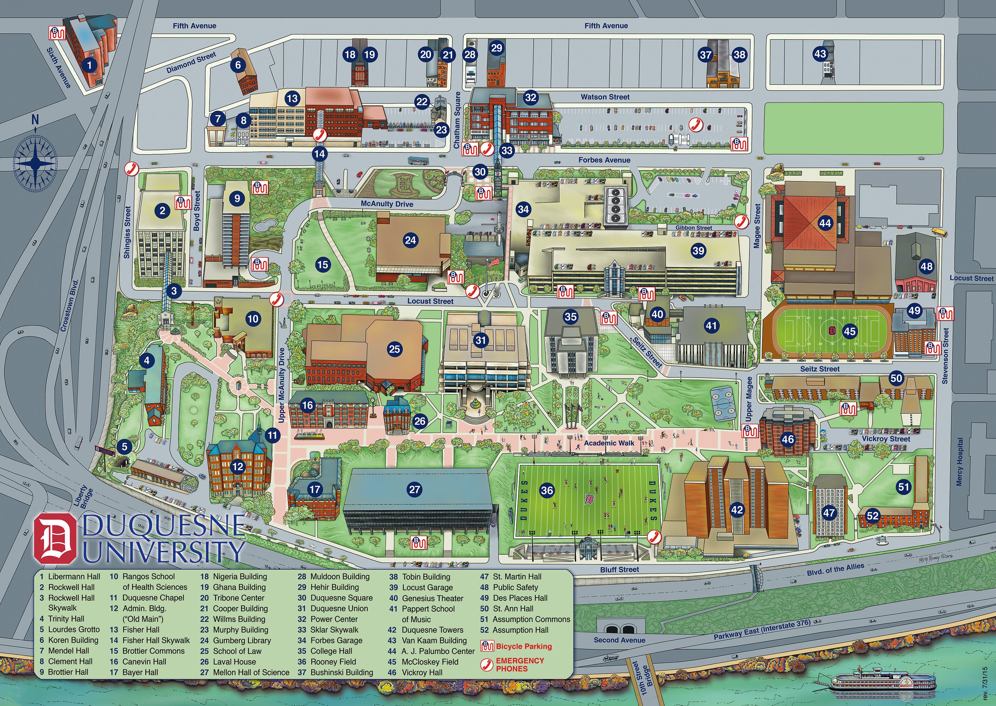 Uni Campus Map Campus Map and Directions | Duquesne University