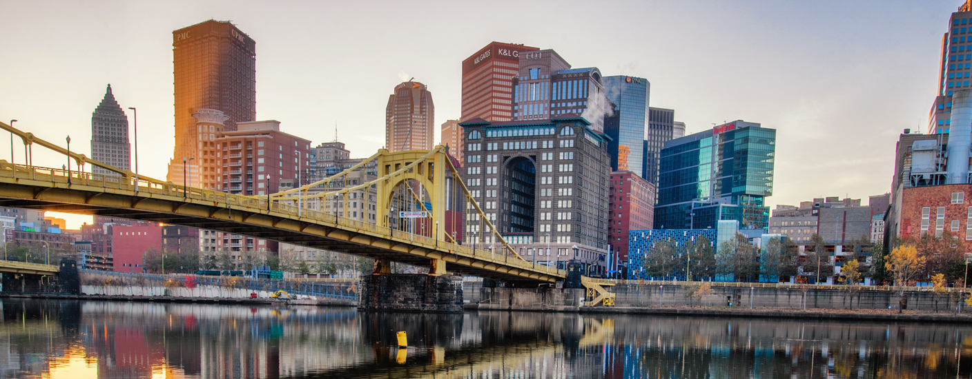 view of Pittsburgh skyline at dawn