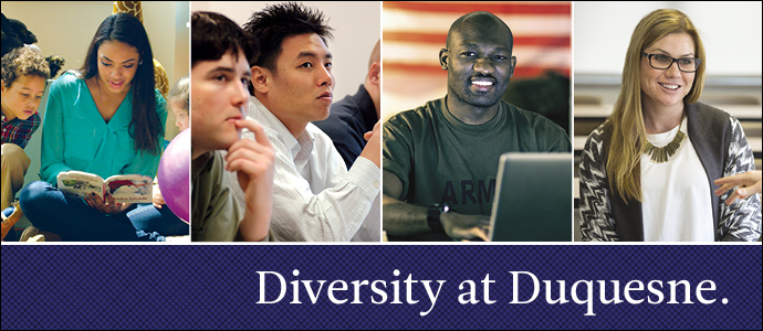 Diversity at Duquesne. 4 different photos of students