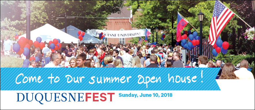 Families on campus for DuquesneFest with text