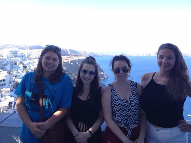 L to R: Jessica Marinaro, Jackie Patterson, Arianna Lower, and Cameryn McNeillie in Santorini, Greece