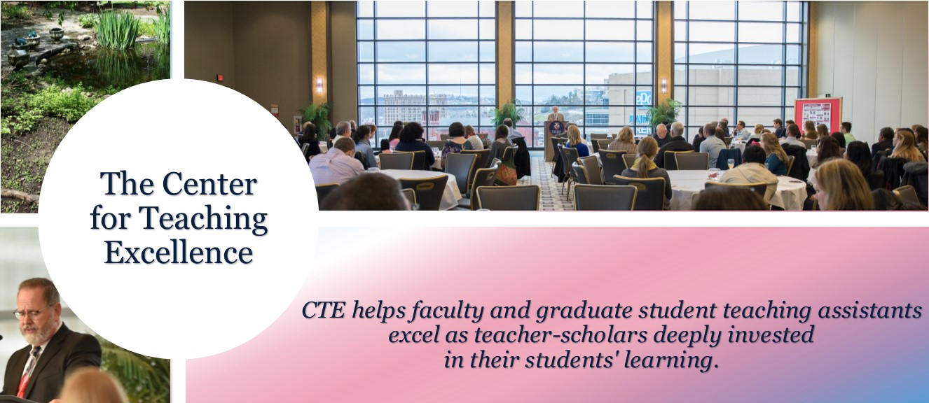 Center for Teaching Excellence Logo and mission statement that the CTE helps faculty and graduate student teaching assistants excel as teacher-scholars deeply invested in their students' learning.
