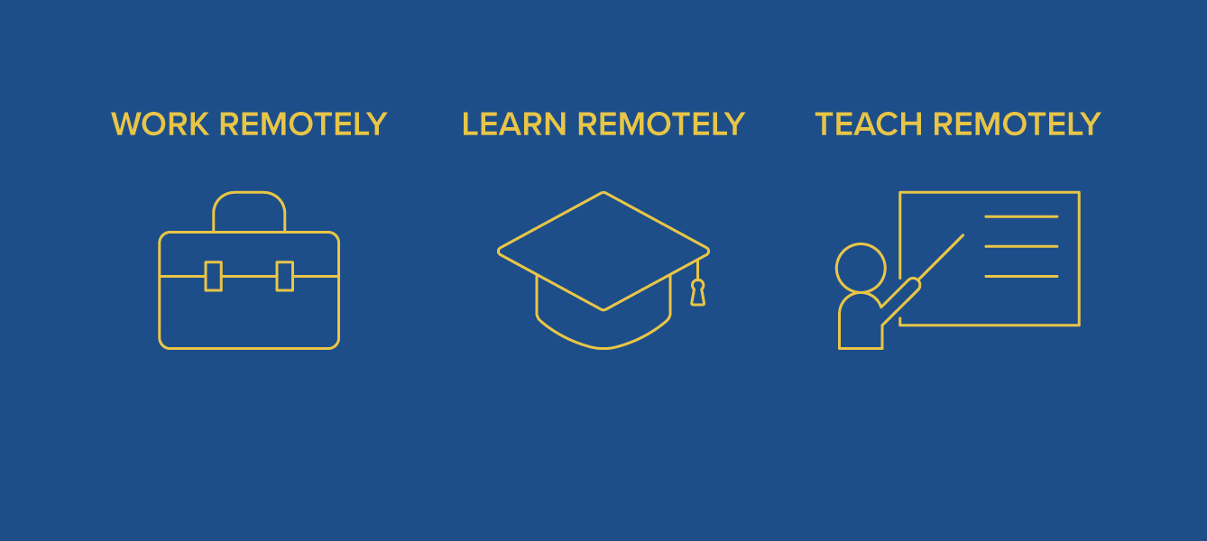 Graphic: Working, learning and teaching remotely