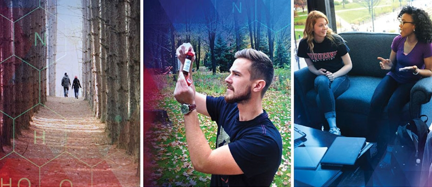 image of students walking in woods, image of male student examining a vial in the field, image of two female students talking on a couch on campus
