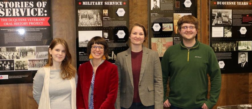 Students at Veterans' Oral History Project reception
