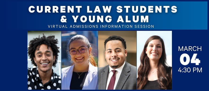 current law students and young alum headshots and information session on March 4 at 4:30 pm