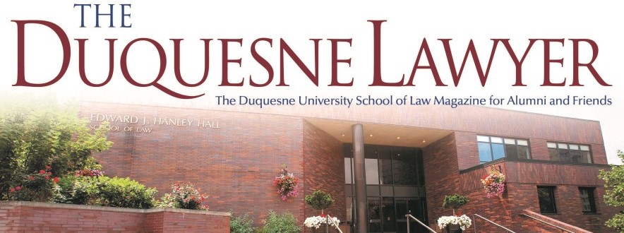 Photo of the Duquesene Lawyer logo with Hanley Hall in the background