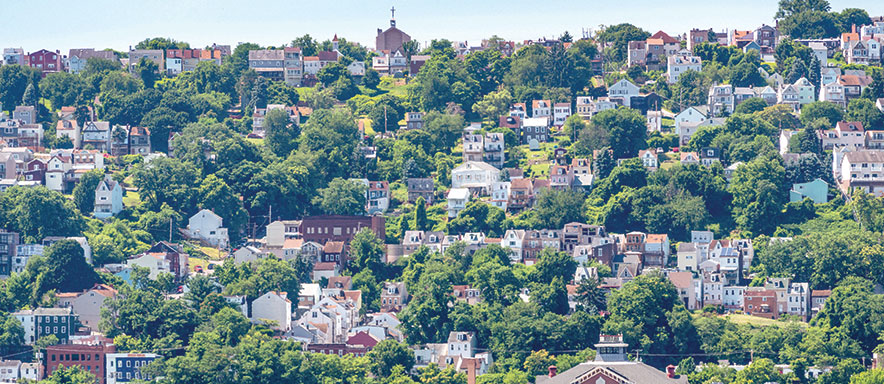 Scenic view of houses on Pittsburgh hillside