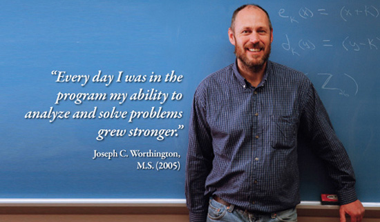 2005 graduate Joe Worthington with quote,