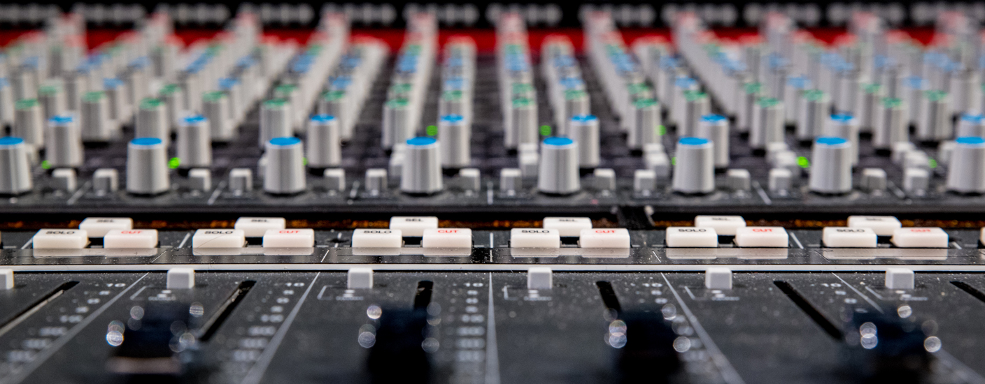 close up photo of a mixing console