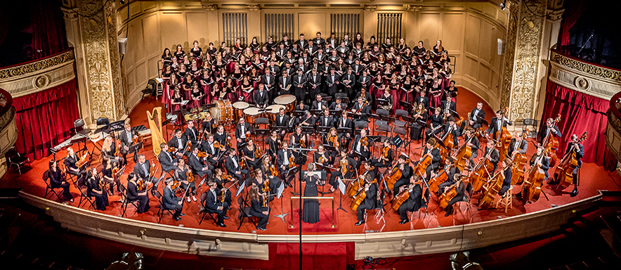 Duquesne Symphony Orchestra and Choirs on stage.
