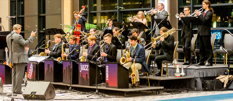 jazz ensemble performs