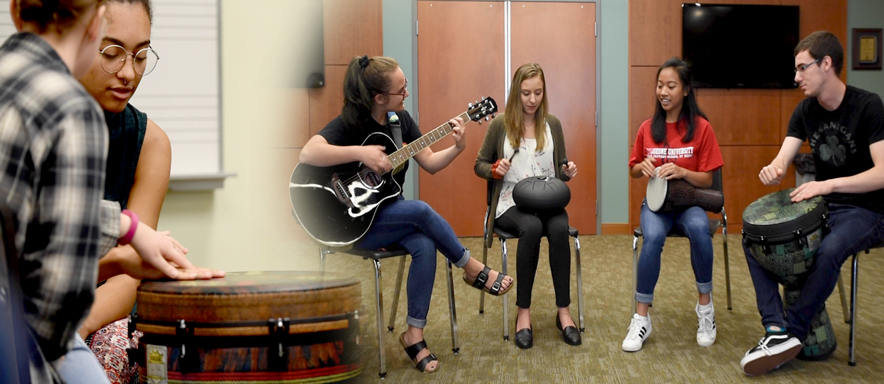 Montage of students in music therapy settings.