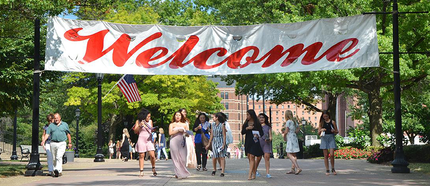 Photo of Academic Walk with Welcome banner