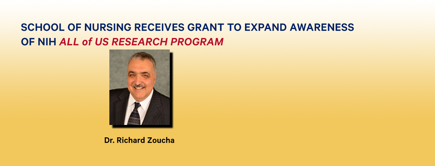 Photo of Dr. Zoucha and information about All of Us research grant