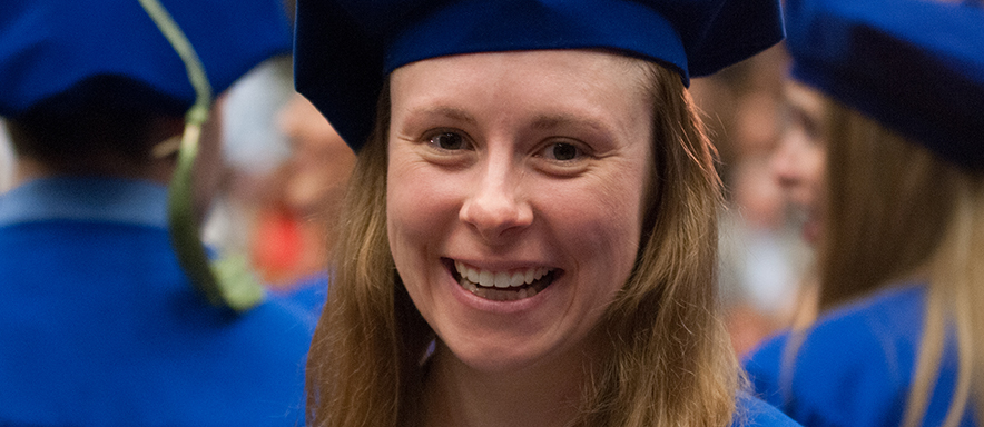 A Duquesne University School of Pharmacy student at graduation.