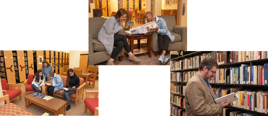 Simon Silverman Phenomenology Center Patrons enjoying the Center (left image: group students reading, center image: students enjoying the Literary Review publications, right image: patron enjoying book off of the shelf)