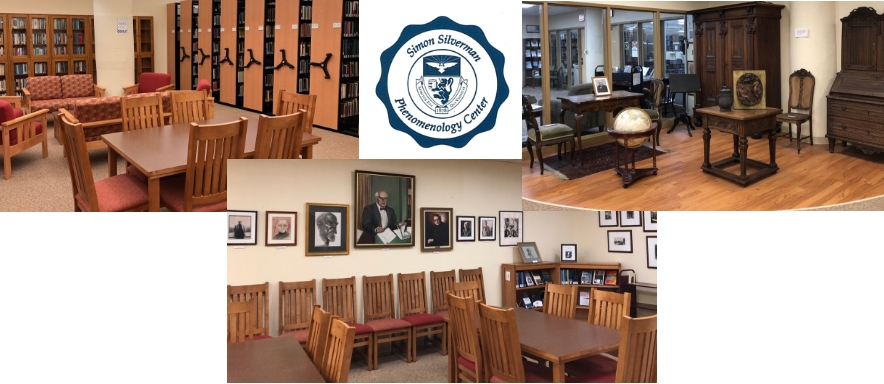 collage of Phenomenology Center pictures: (top, left to right) Reading area with tables, couches and shelves; Simon Silverman Phenomenology Center seal; Straus' antique furniture; (bottom) reading area with portraits and new book nook