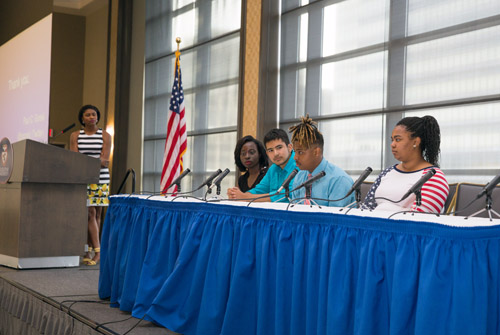 Ms. Brittny McGraw moderated a teen panel.