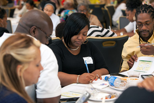 Conference participants engaged in professional development.