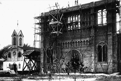 Douala, Cameroon, about 1933. Construction of the Cathedral by Bro. Materne Wolff.
