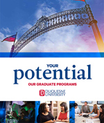 "duquesne arch and text with ""your potential, our graduate programs"""
