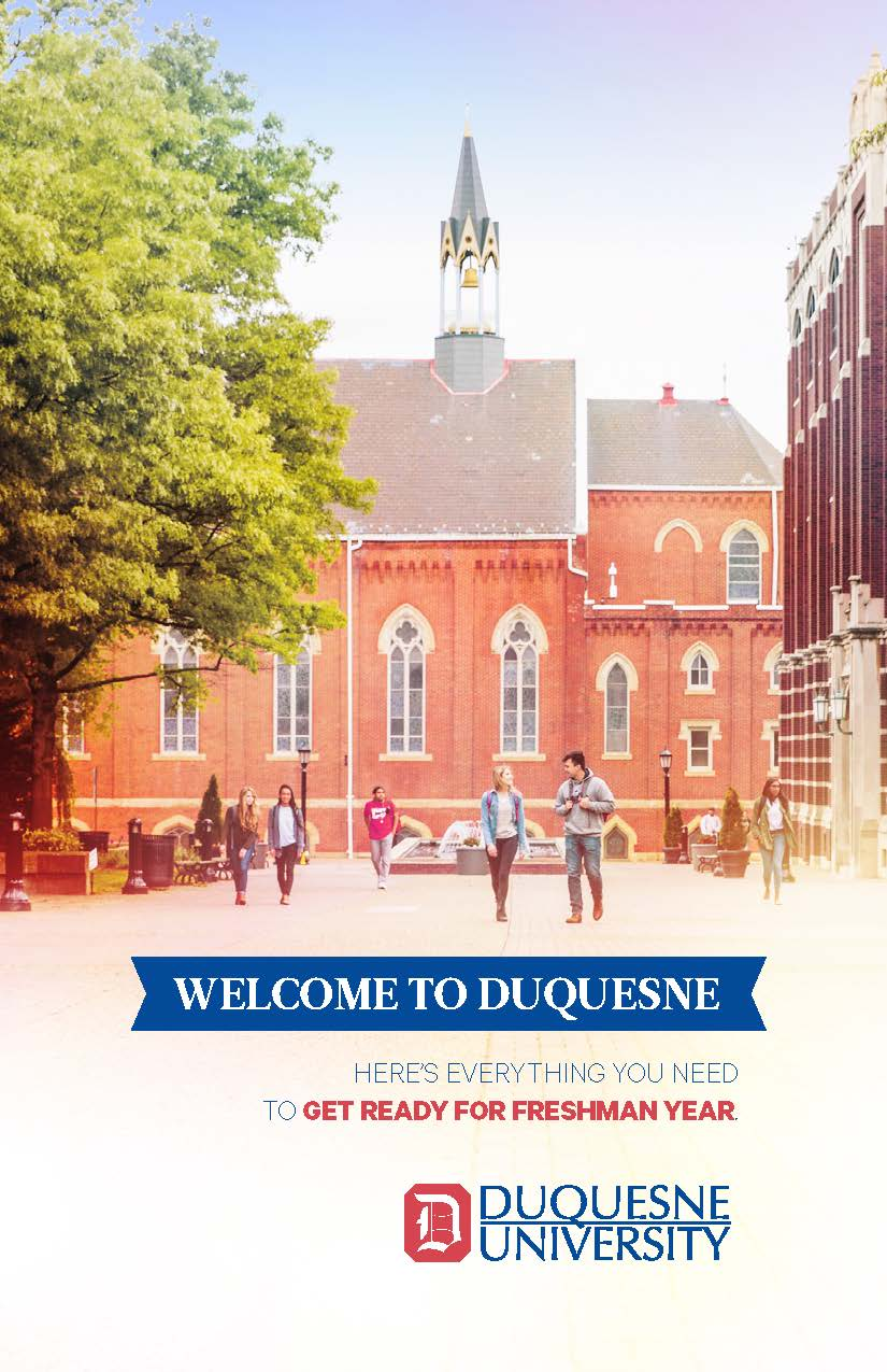 Cover of welcome packet. Shows image of campus