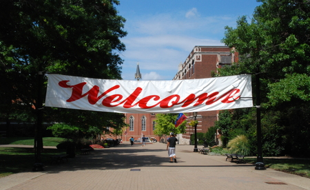 Welcome Banner hanging at Academic Walk