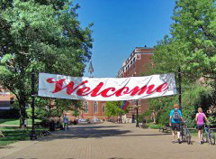 Welcome Banner on Academic Walk