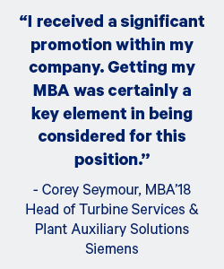 Student quote: I received a significant promotion within my company. Getting my MBA was certainly a key element in being considered for this position.