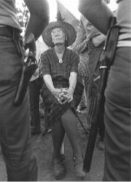 image of Dorothy Day protesting