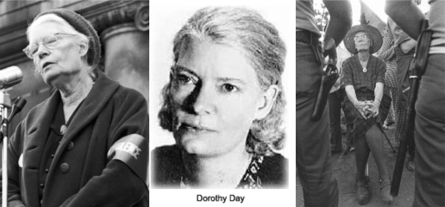 three images of Dorothy Day