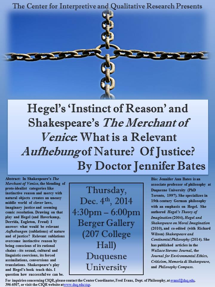 Jennifer Bates Hegel and Shakespeare Presentation