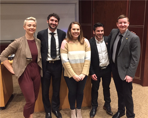 Pictured left to right: Niamh Thompson, Daniel Scanio, Dr. DeIuliis, Vince Carrola and Kolton Hilterman
