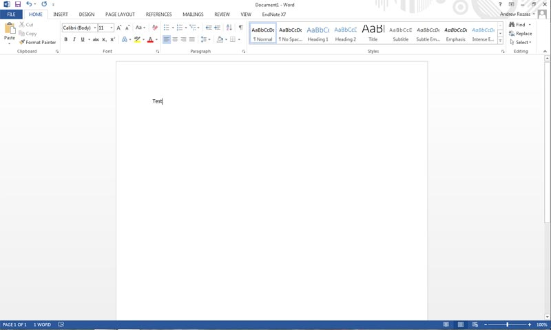 Word Document for printing