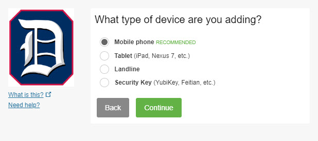 Screenshot: Select the type of device you are enrolling