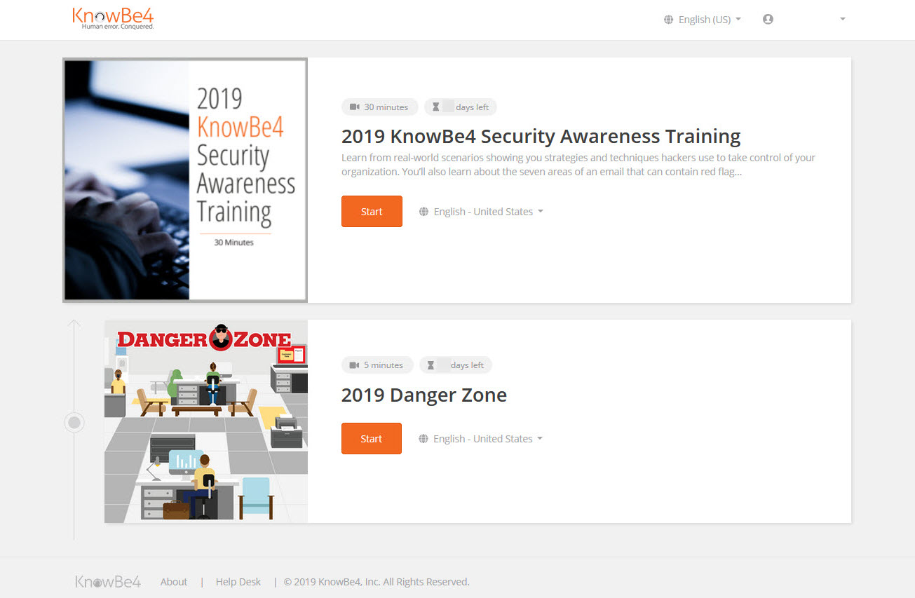 KnowBe4 Cybersecurity Awareness Training Dashboard