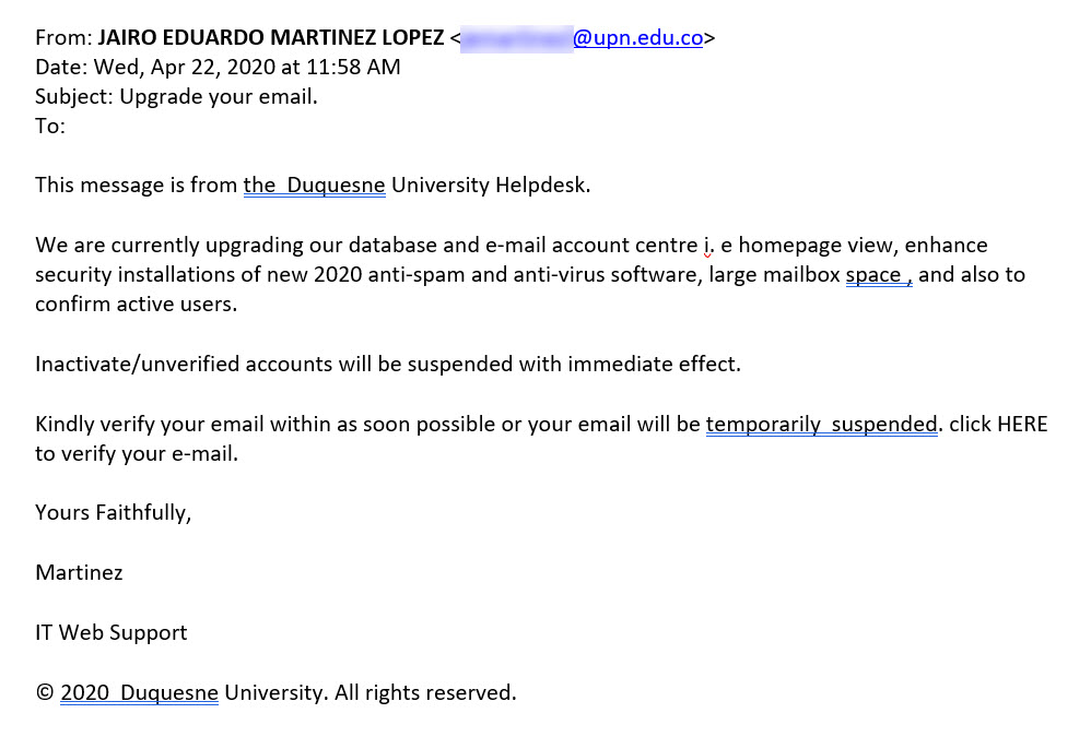 Image: Phishing message- Upgrade your email