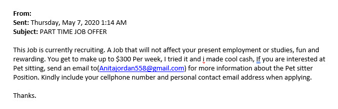 Image: Phishing message- part time job offer