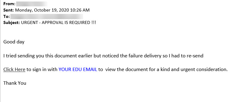 Image: URGENT - APPROVAL IS REQUIRED !!! Phishing Email