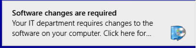 Image: Software changes are required notification