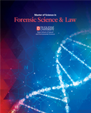 Brochure cover reading Forensic Science & Law