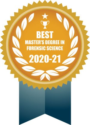 Award ribbon reading Best Master's Degree in Forensic Science 2020-21