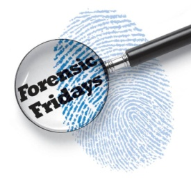 Magnifying glass and fingerprint with text reading Forensic Fridays