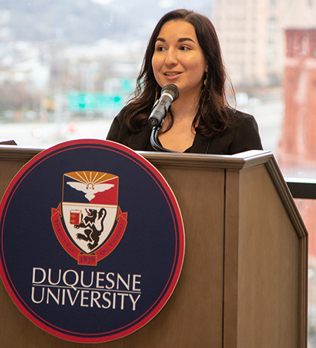 Gabby Garcia speaking at donor event