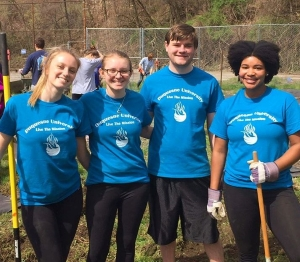 Four students at spring clean up 2019