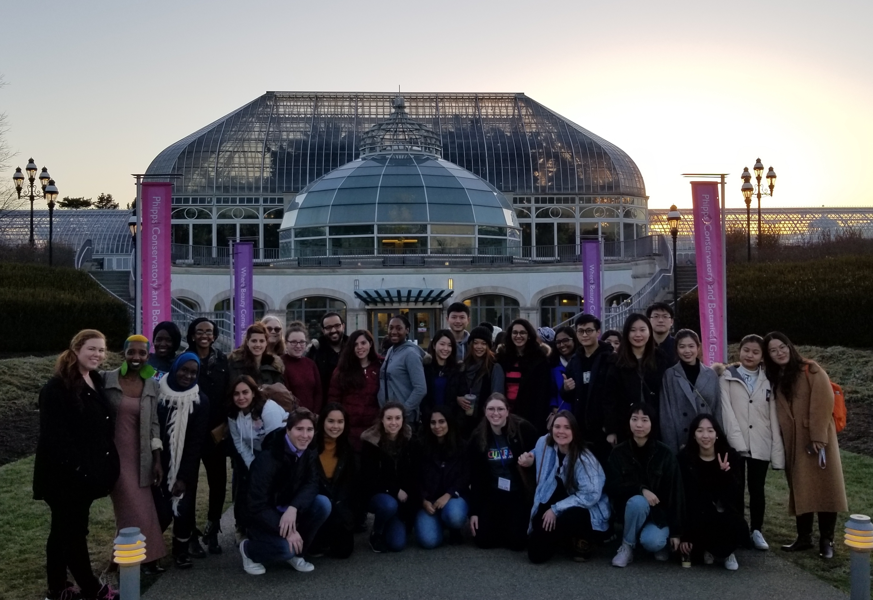 Cultural Ambassadors and international students in front of Phipps Conservatory