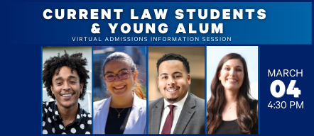 Current Law Students and Young Alum headshots and information session March 4