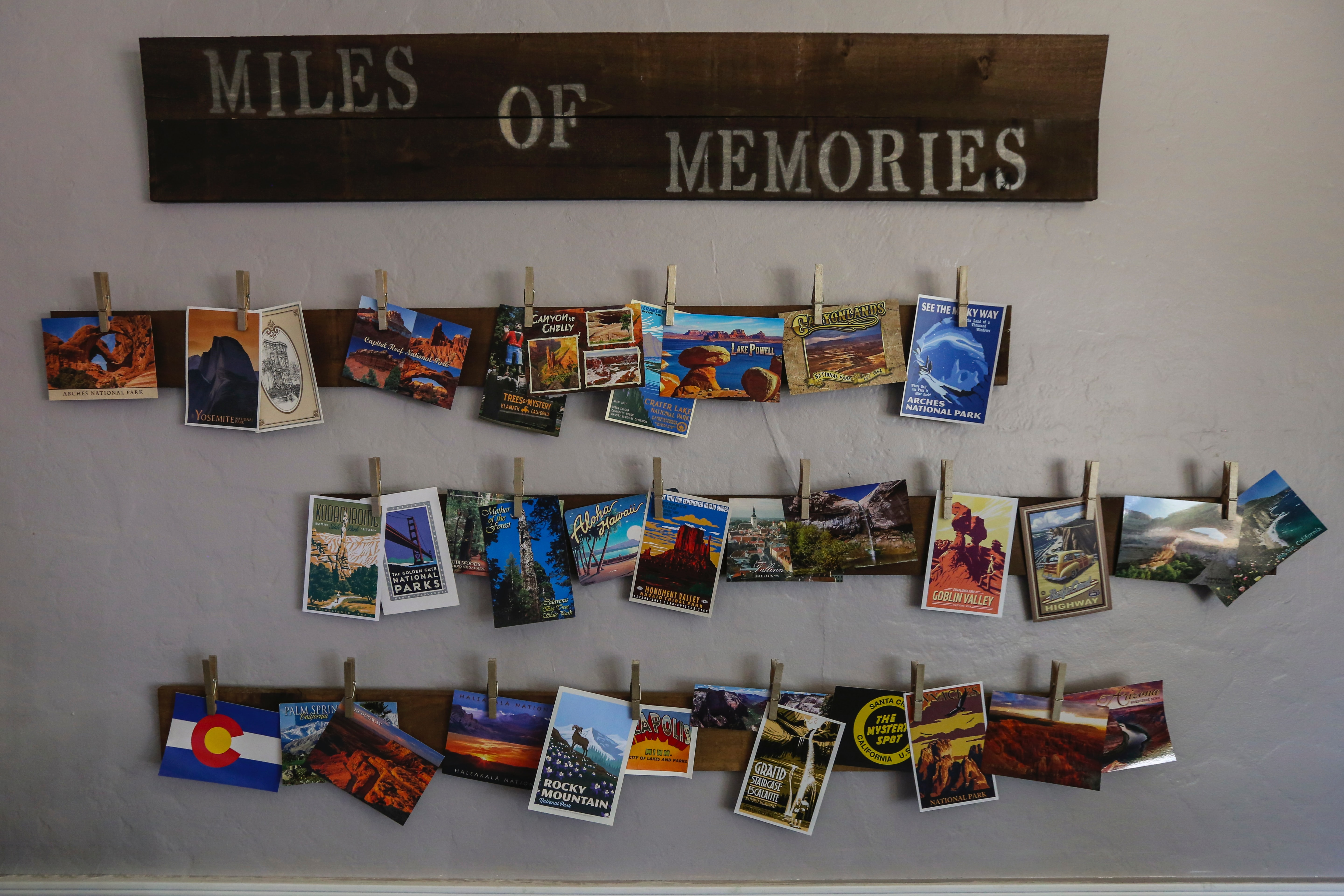 photo of postcards and words stating miles of memories