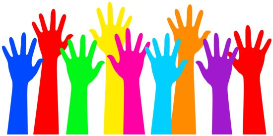 Image of colorful raised hands